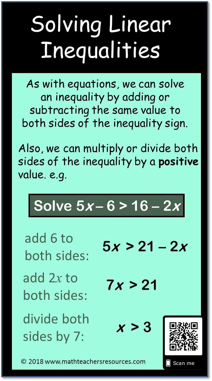 Solving Linear Inequalities Math Inequality Infographic Math Infographic Linear Inequalities Basic Math Skills