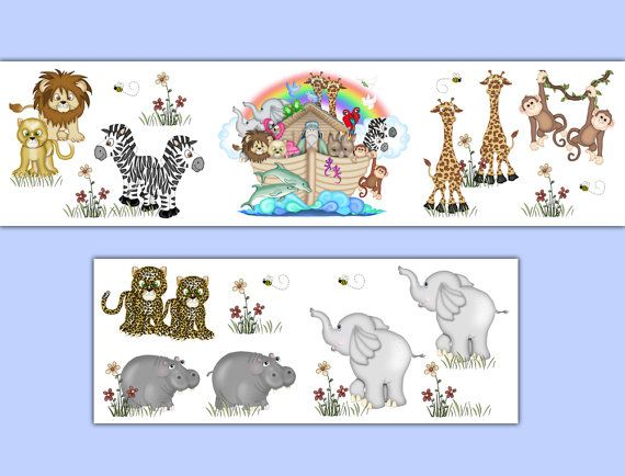 NOAHS ARK WALLPAPER Border Wall Decals Bible Story Animals Nursery Childrens Jungle Bedroom Kids Safari Zoo Room Baby Stickers Art Decor #decampstudios