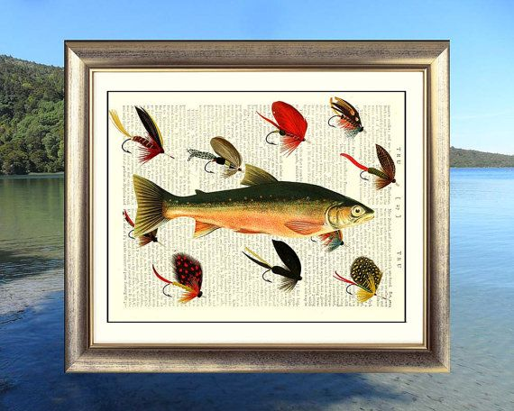 Salmon fish with fishing flies. Art print on antique book page. 212 year old paper