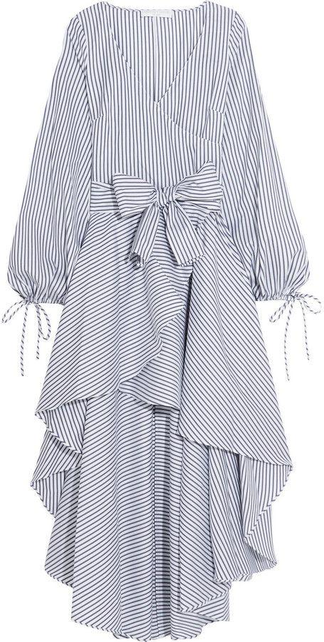 Caroline Constas Lena wrap-effect striped cotton dress