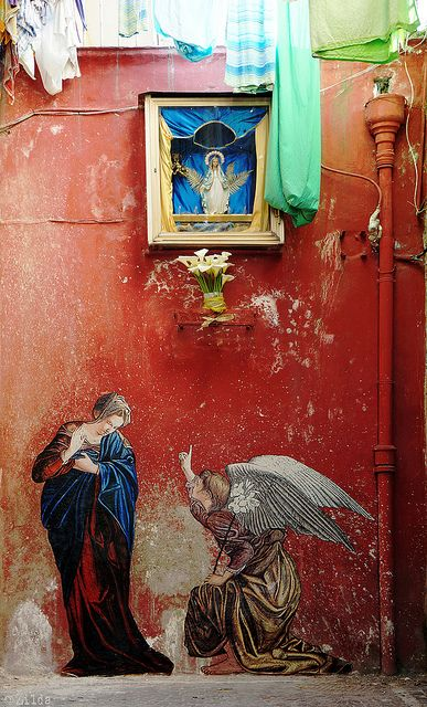 'L'Annunciazione' by French artist Žilda. Paste-up. Acrylic  oils on paper. Piazza Bellini, Naples. via the artist's site on Flickr