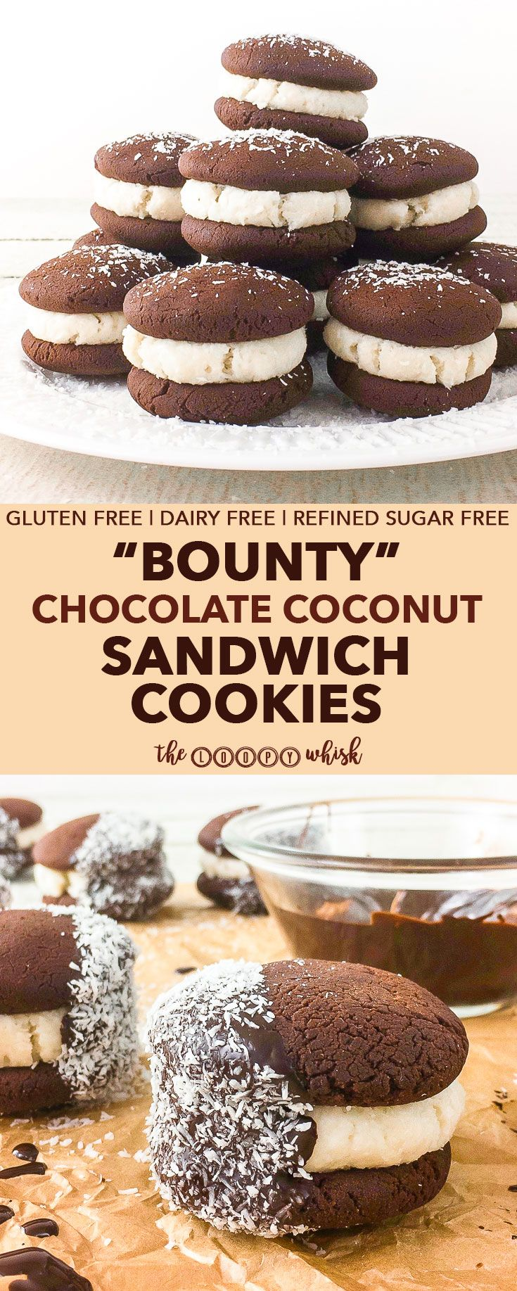 """""""Bounty"""" Chocolate Coconut Sandwich Cookies - Prepare to be blown away by how absolutely scrumptious these """"Bounty"""" chocolate coconut sandwich cookies are. Crumbly decadent chocolate cookies meet flavour-charged coconut filling in this gluten, dairy and refined sugar free treat, which features coconut in three different forms!"""