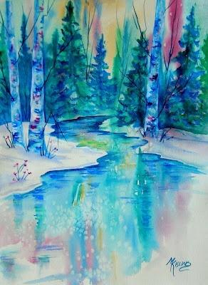 Calm, cool mountain stream. Martha Kisling Fine Art marthakis
