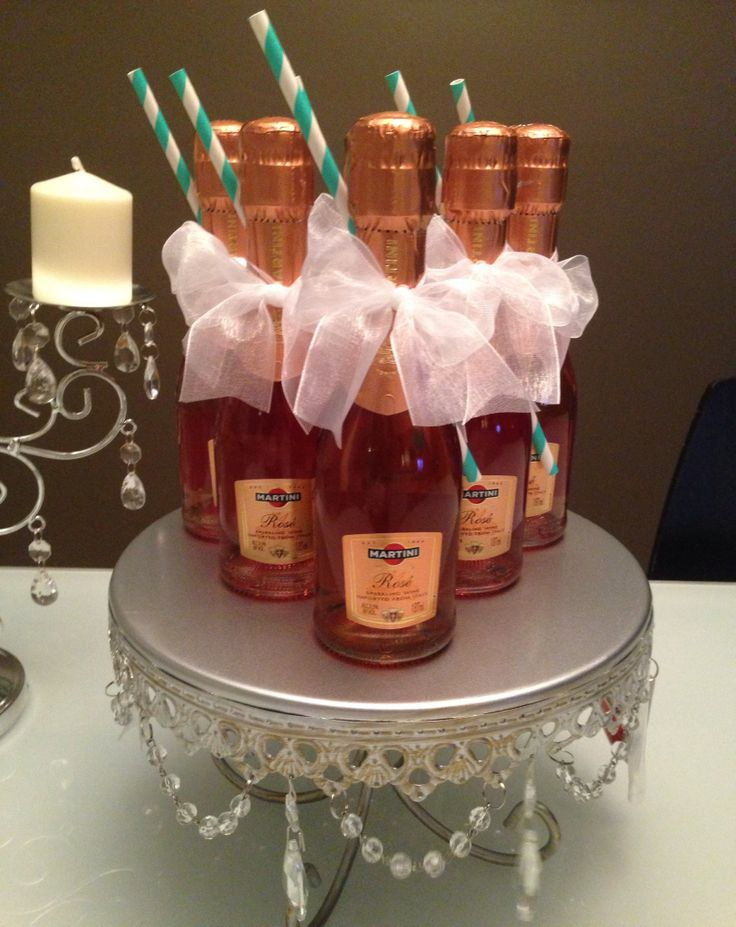 mini rose champagne party favors