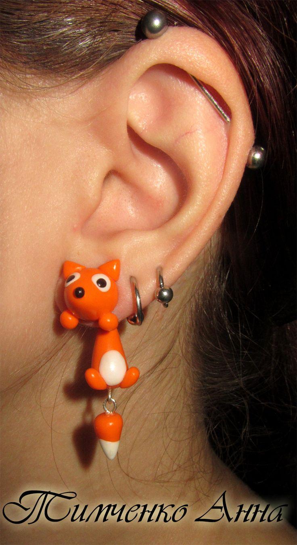 HM polymer clay fox earrings.