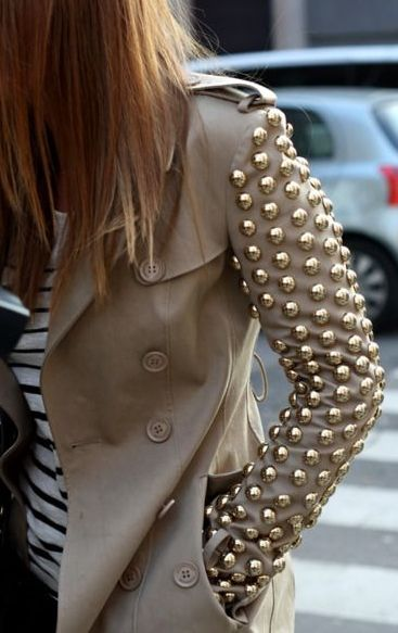 A jacket with embellished or studded sleeves is a perfect statement piece for a woman on the go! Tip: keep the rest of your outfit simple and opt for neutrals.