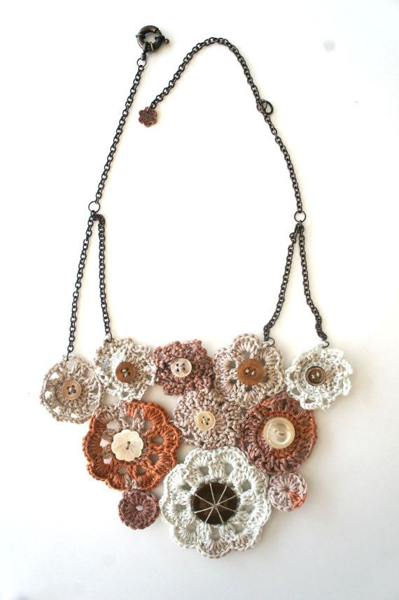 Brown Ombre Flowers Crocheted Necklace // FREE by Karakoncolos, $25.00