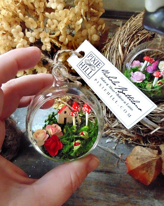 Miniature fairy garden and cottage in a by PixieHillStudio on Etsy