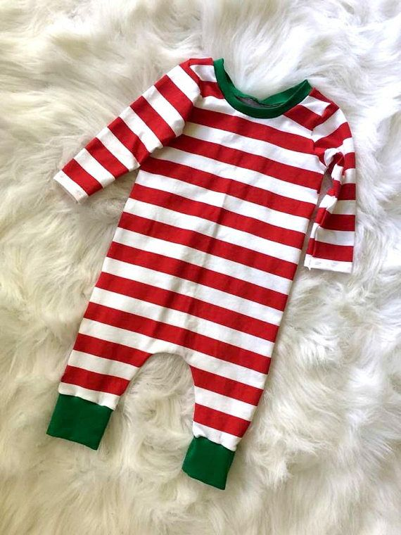 Christmas romper baby Christmas outfit striped pajama red