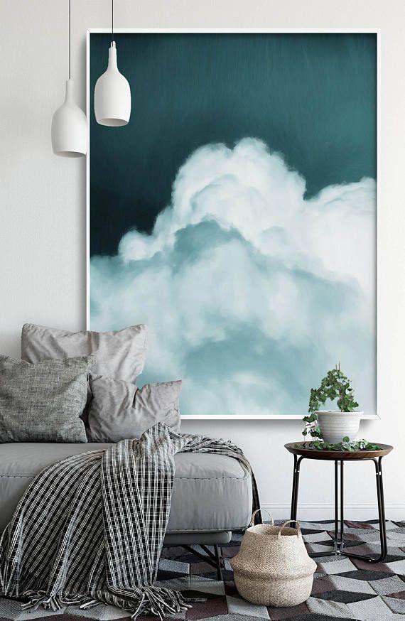 Cloud Portray, Summary Artwork Print, Summary Giclee, Inexperienced Teal Aqua White, Fashionable Artwork Summary, Portray, Summary Artwork READY TO HANG