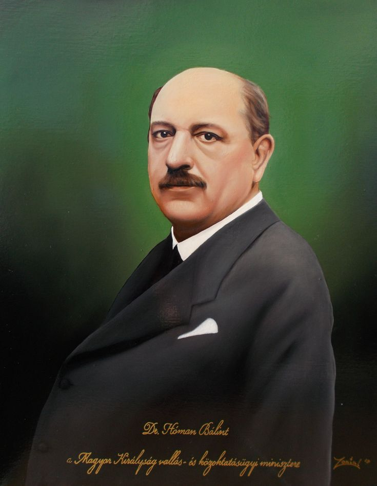 Dr. Hóman Bálint, a Magyar Királyság vallás - és közoktatásügyi miniszterének portréja 40x50 cm-es olajfestmény