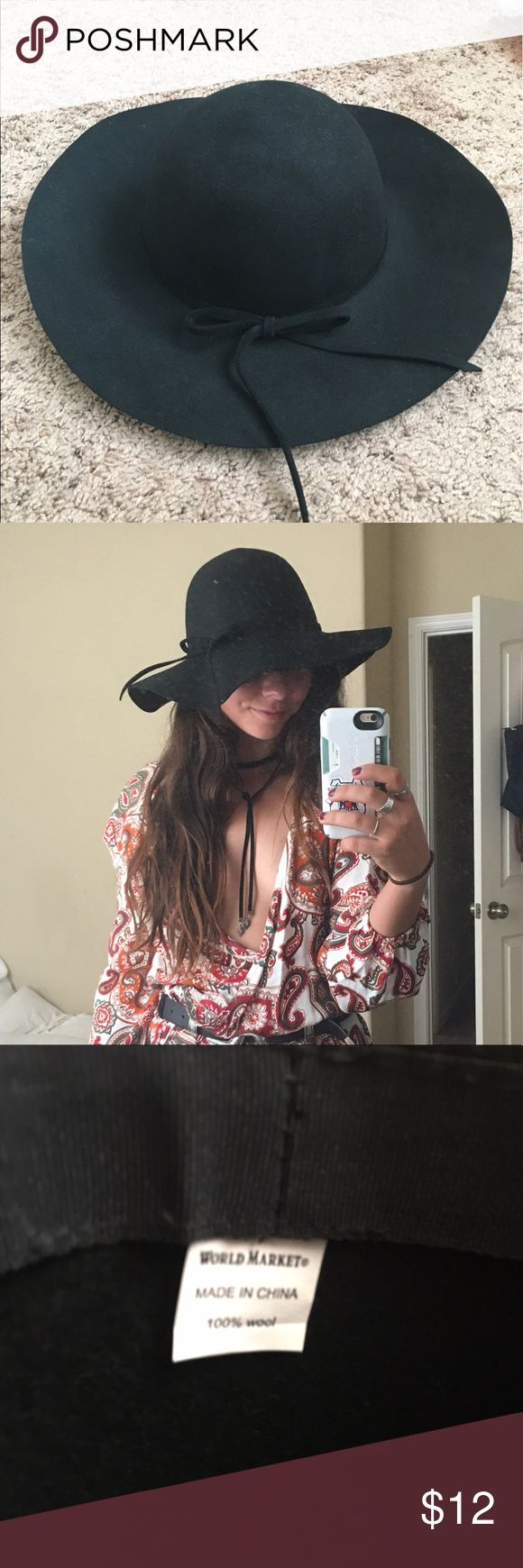 Floppy hat made from black felt with bow Floppy black hat great to pair with a summer dress or romper. world market  Accessories Hats