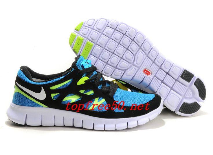 ... p3fp3n blue glow white black volt nike free run 2 womens running shoes