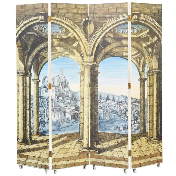 Extremely Rare Four Panel Folding Screen By Piero Fornasetti, Circa 1950s
