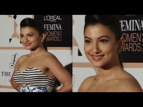 Gauhar Khan in a sleeveless dress at Femina Women Awards 2015.