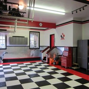 Small Nice Looking Garage Design With Black And White Tile