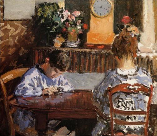 """The Lesson"". Alfred Sisley (1839 – 1899) English Impressionist."