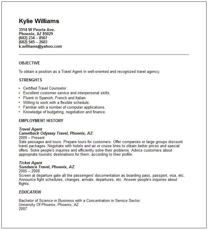 sample airlines ticketing agent cv