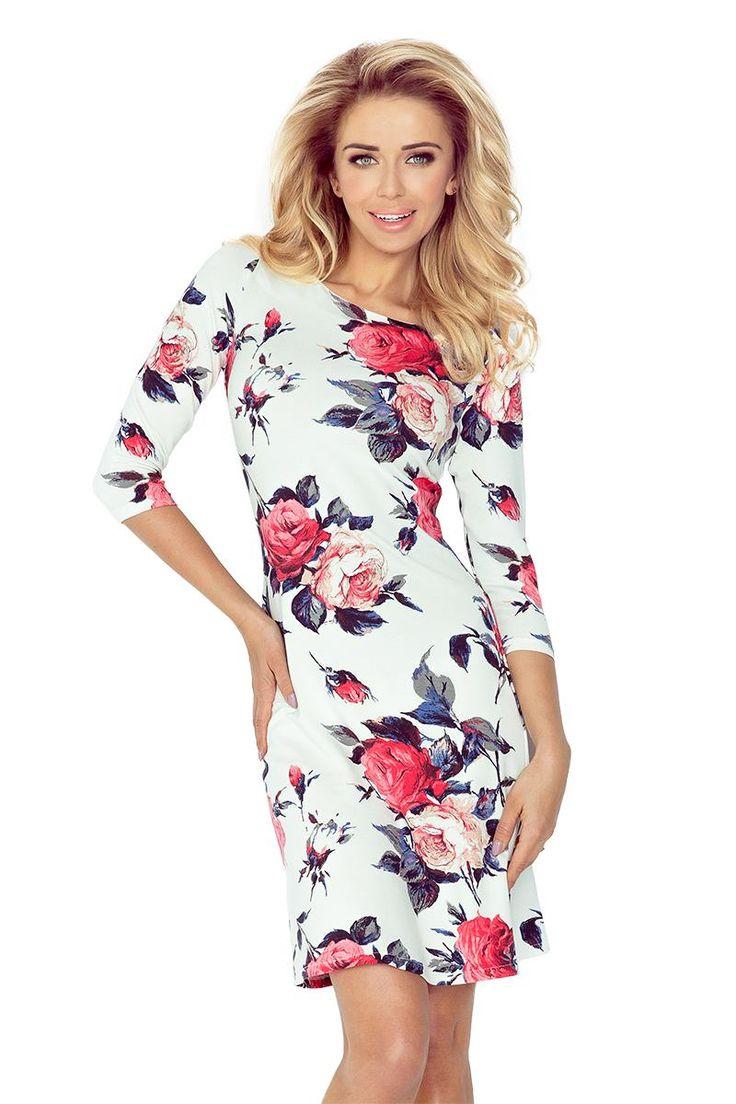 Sukienka Lekko Rozkloszowana w Kolorowe Kwiaty NU88-16