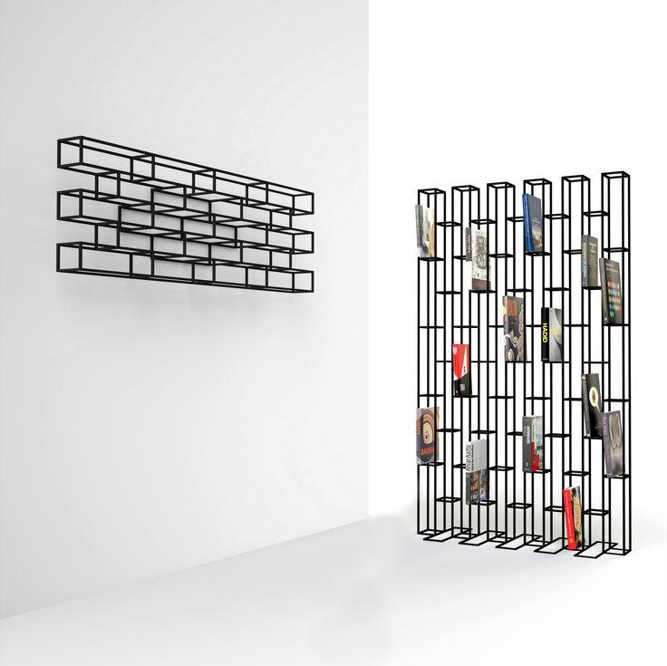 BRICKS is een vrijstaande metalen boekenkast dat tevens kan dienen als roomdivider. BRICKS is a free standing metal bookcase and can also be used as a room divider. Design: Gerard de Hoop