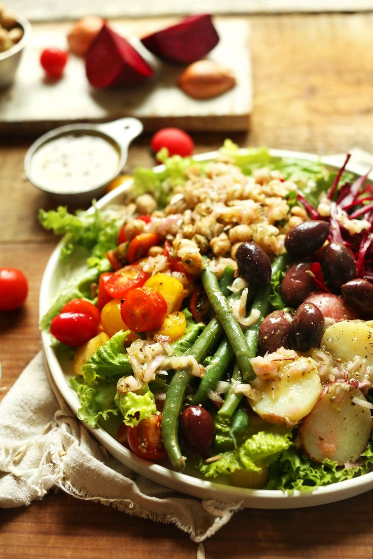 EASY Vegan Nicoise Salad with Shallot and Dijon Vinaigrette! (Marinate the potatoes in part of the dressing before serving)