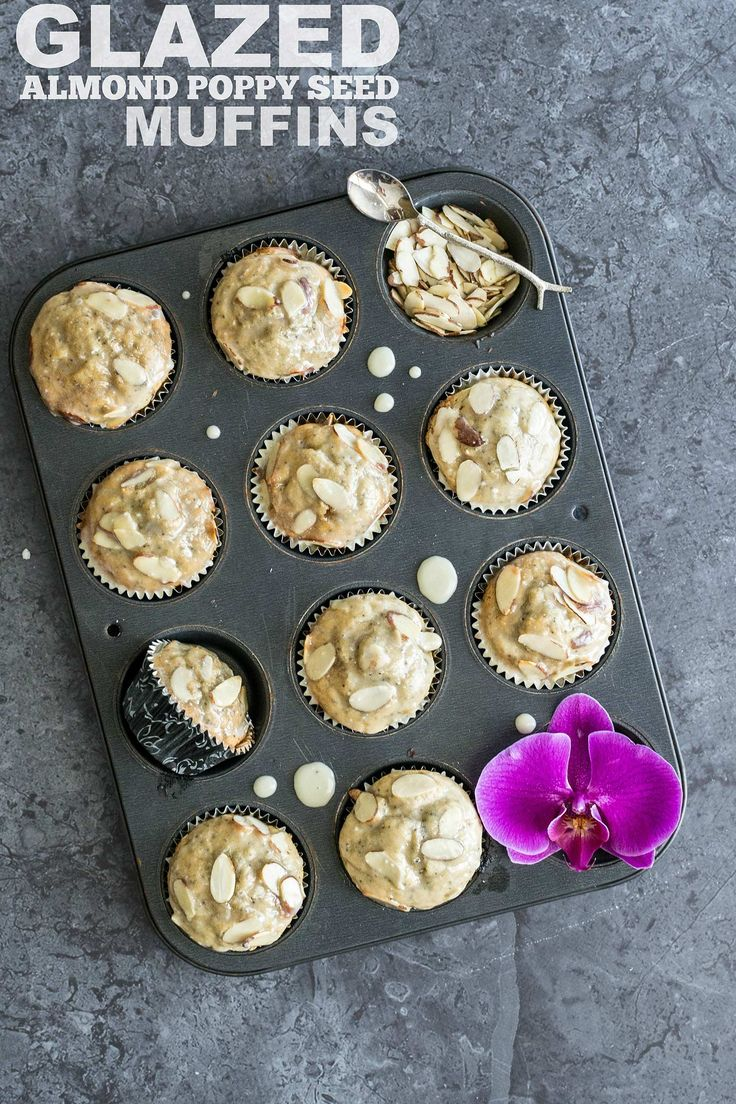 Moist, sour-cream based almond poppy seed muffins drenched in a perfectly sweet vanilla-almond glaze.