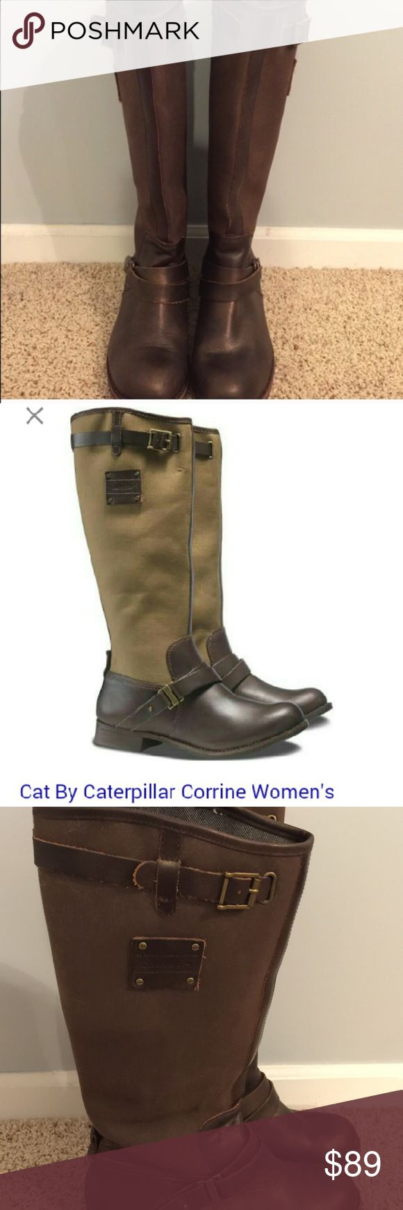 CAT Corrine riding boots Gently worn leather and canvas riding boots from Caterpillar. Corrine riding boot with leather sole and canvas upper. Leather accent straps with buckle give these boots a gorgeous riding boot look. Color does not match stock photo. Color well represented in actual pictures. Great boots!! Caterpillar Shoes