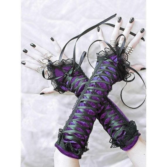 black and purple fingerless gloves arm warmers by FashionForWomen