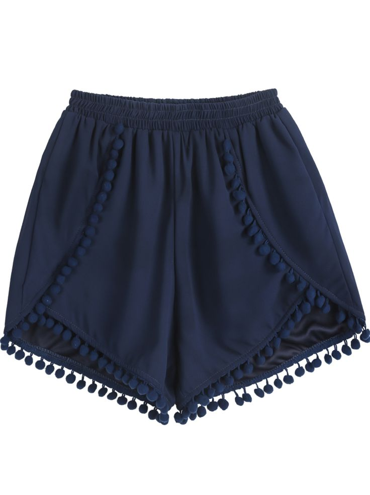 Navy Elastic Waist Twisted Ball Embellished Shorts US$18.63