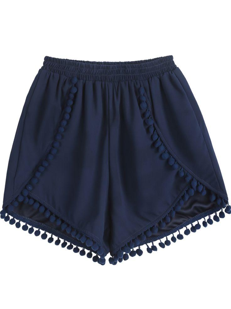 Navy Elastic Waist Twisted Ball Embellished Shorts EUR€13.53 #fashion #style 9thelm.com