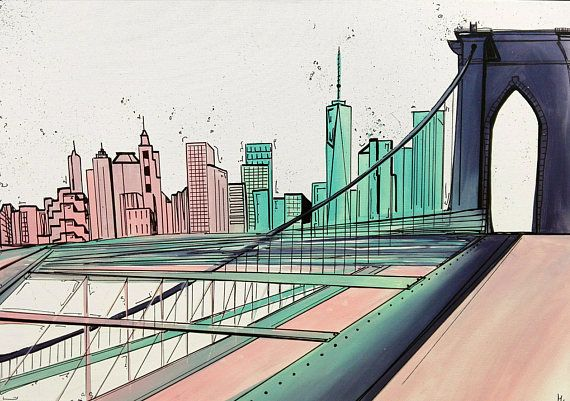 New York Brooklyn Bridge Usa Skyline Kunstdruck Art Print