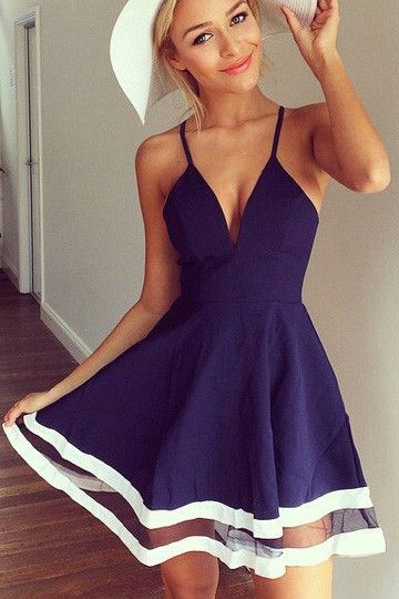 Deep V chiffon stitching dress