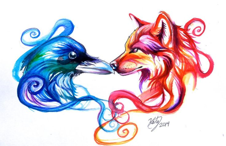 Ice Raven and Fire Wolf Tattoo by Lucky978.deviantart.com on @deviantART