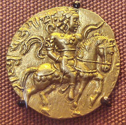 """Coin of """"Chandragupta Maurya II"""". Also called vikramaditya, was powerful emperor in Gupta dynasty. The period is referred to as """"Golden period"""" in Indian history with prominence in all fields. Special mention is science - Mathematics, and astronomy during this period. This is India's biggest contribution o the World..."""