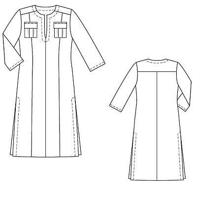 Платье-кафтан - выкройка № 136 из журнала 7/2010 Burda – выкройки платьев на Burdastyle.ru