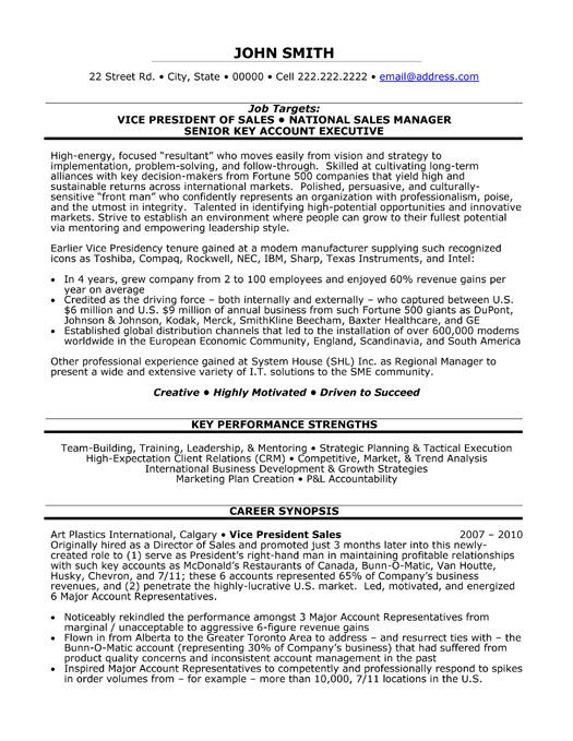 Click Here to Download this Vice President of Sales Resume Template! http://www.resumetemplates101.com/Executive-resume-templates/Template-165/