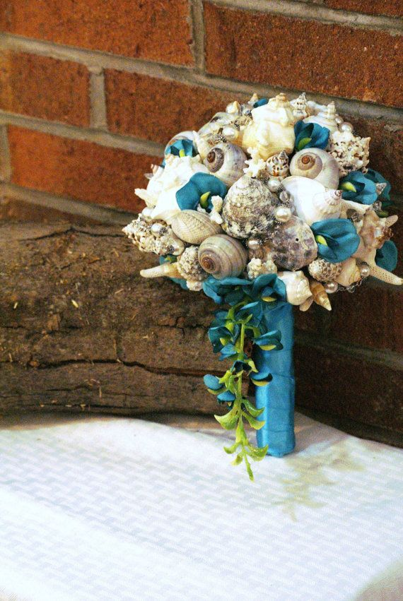Blue Teal Cascading Seashell Bouquet by SlyCreationsBouquets