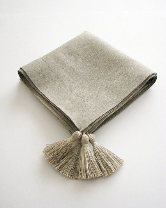 Linen tablecloth square 35x35 natural gray with by daiktuteka, $49.00