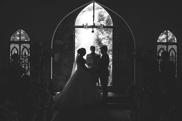 Bride and Groom silhouettes at chapel | Coolibah Downs Wedding | Eliza Davis - Gold Coast Wedding Photographer |