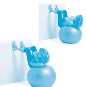 Sit on a stability ball, facing a wall. Lie back so the middle to small of your back is resting on the ball. Place your feet hip-width apart on the wall with your knees bent 90 degrees; cross your arms over your chest. Curl up and twist through the waist to the left. Return to center and curl down so your back is parallel to the floor, then twist up to the right. That's one rep. Do 10 to 12.