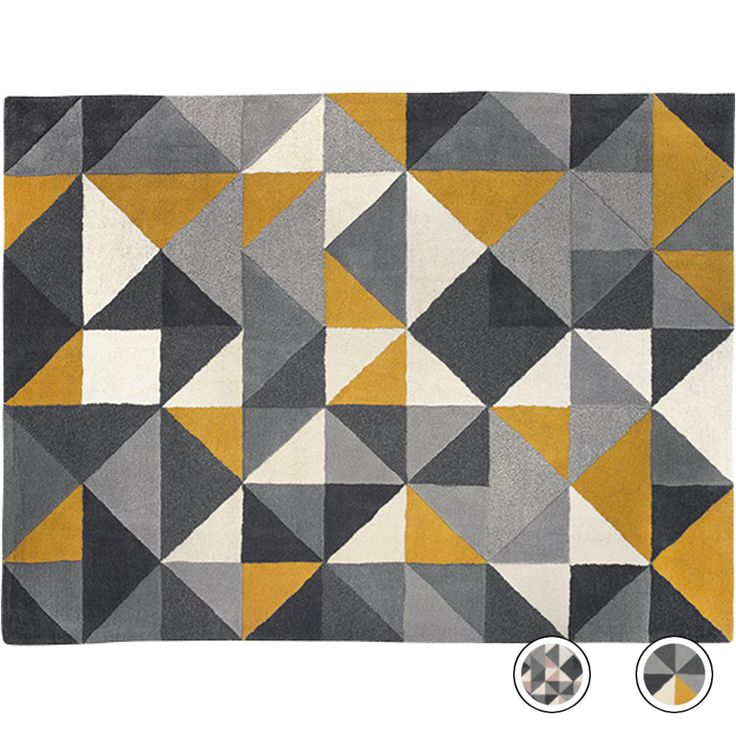 Henrik Large Hand Tufted Wool Rug 160 X 230m Mustard And Grey From Made