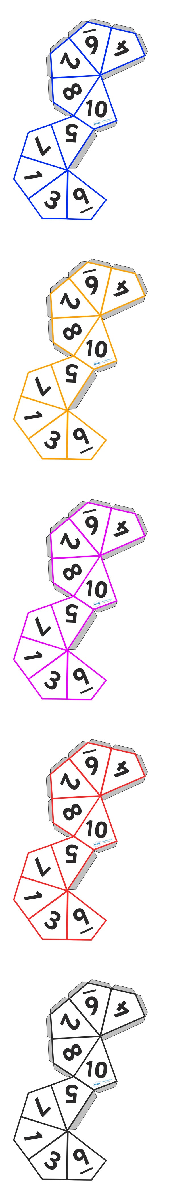 Dice Templates (1-10)  - Pop over to our site at www.twinkl.co.uk and check out our lovely Numeracy primary teaching resources! numeracy, maths, dice, template #Numeracy #Numeracy_Resources