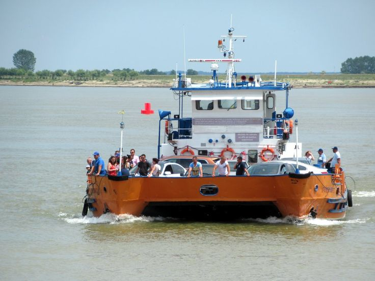 Frequent ferries carry traffic across the Danube River at Galati, Romania.