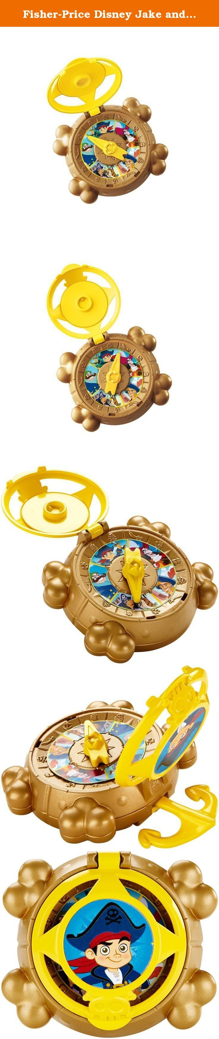 Fisher-Price Disney Jake and the Never Land Pirates Captains' Compass. Help Captain Jake locate the League of Never Sea Captains and find the Mighty Colossus! This role-play toy is inspired by Jake's Captains' Compass as seen on his TV show. Open the lid of the compass to see all 5 captains from Captain Jake and the Never Land Pirates' TV show: Captain Lebeak, Captain Hook, Captain Flynn, Captain Frost and Captain Jake! Activate the compass by spinning the needle. Wherever it lands you'll...