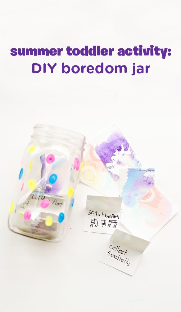 """School's out for summer, but boredom's trying to stake its claim! Keep your baby and toddler entertained all summer long with this DIY summer boredom buster jar. Recycle old art from your kids to make the activity cards and paint a mason jar with colorful dots to add some character. Make sure to put stuff on those cards that you'd actually be willing to do, lest we have a meltdown when your toddler picks a card that reads """"trip to Disneyland"""" on a Thursday afternoon."""