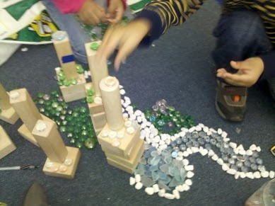 adding stones and gems to the block area so the kids can enhance their buildings.