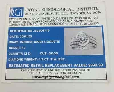 10K WG Diamond Engagement Marquis Round Baguette Diamonds Ring Size 6 75   eBay