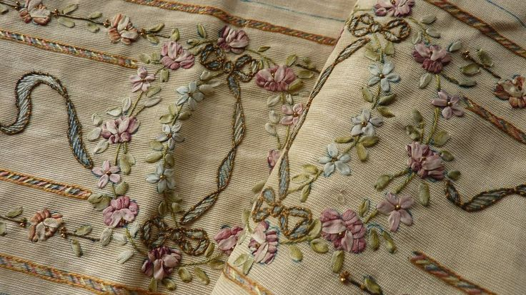 antique ribbon work moire panel ROSES  embroidery