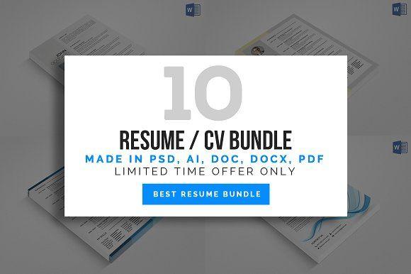 10 Clean Resume/CV Bundle  @creativework247