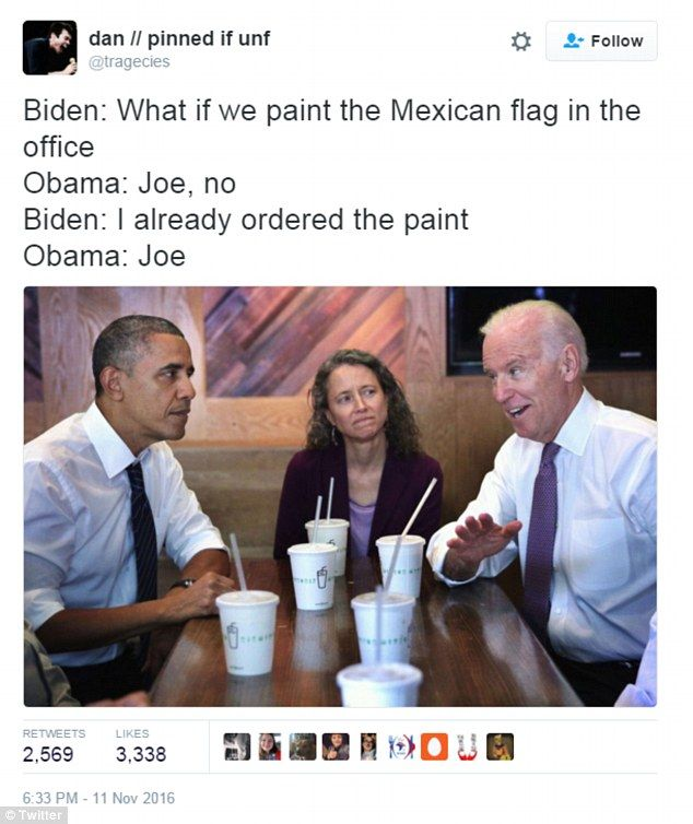 After Donald Trump's stunning election victory, Twitter has erupted with funny memes imagining Vice President Joe Biden's last laugh at the White House.